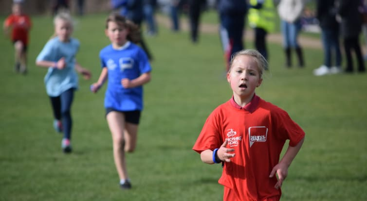 Primary school pupils competing in the cross country event at the school games