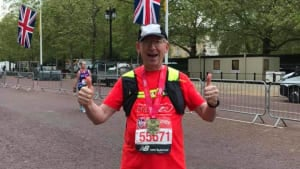 Paul after crossing finish line at London marathon