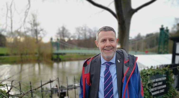 Chris pictured in front of the Frankwell bridge Shrewsbury