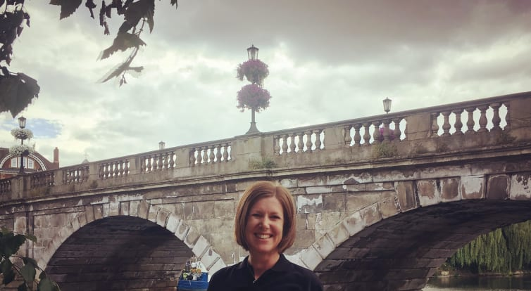 Elevate instructor Jenny pictured in front of the bridge over the River Severn in Shrewsbury