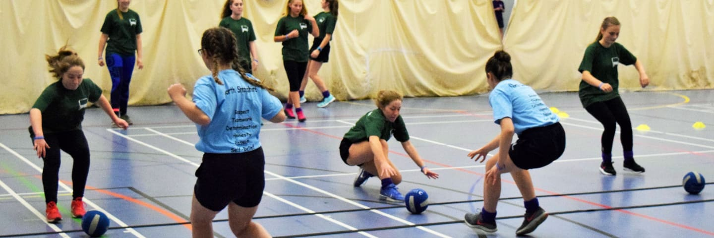 East Shropshire versus North Shropshire secondary school pupils playing dodgeball